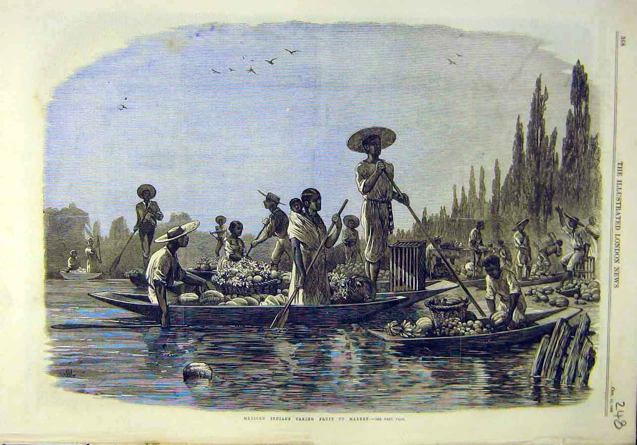 Print Mexican Indians Fruit Market Boat 1866 People 48Ccc1 Old Original