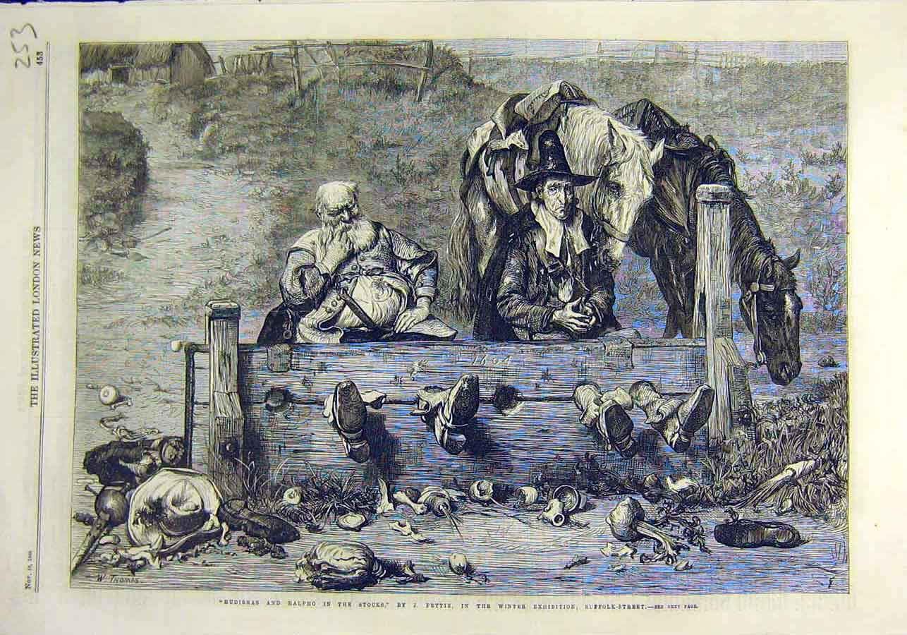 Print Hudibras Ralpho Stocks Pettie Fine Art 1866 Men 53Ccc1 Old Original