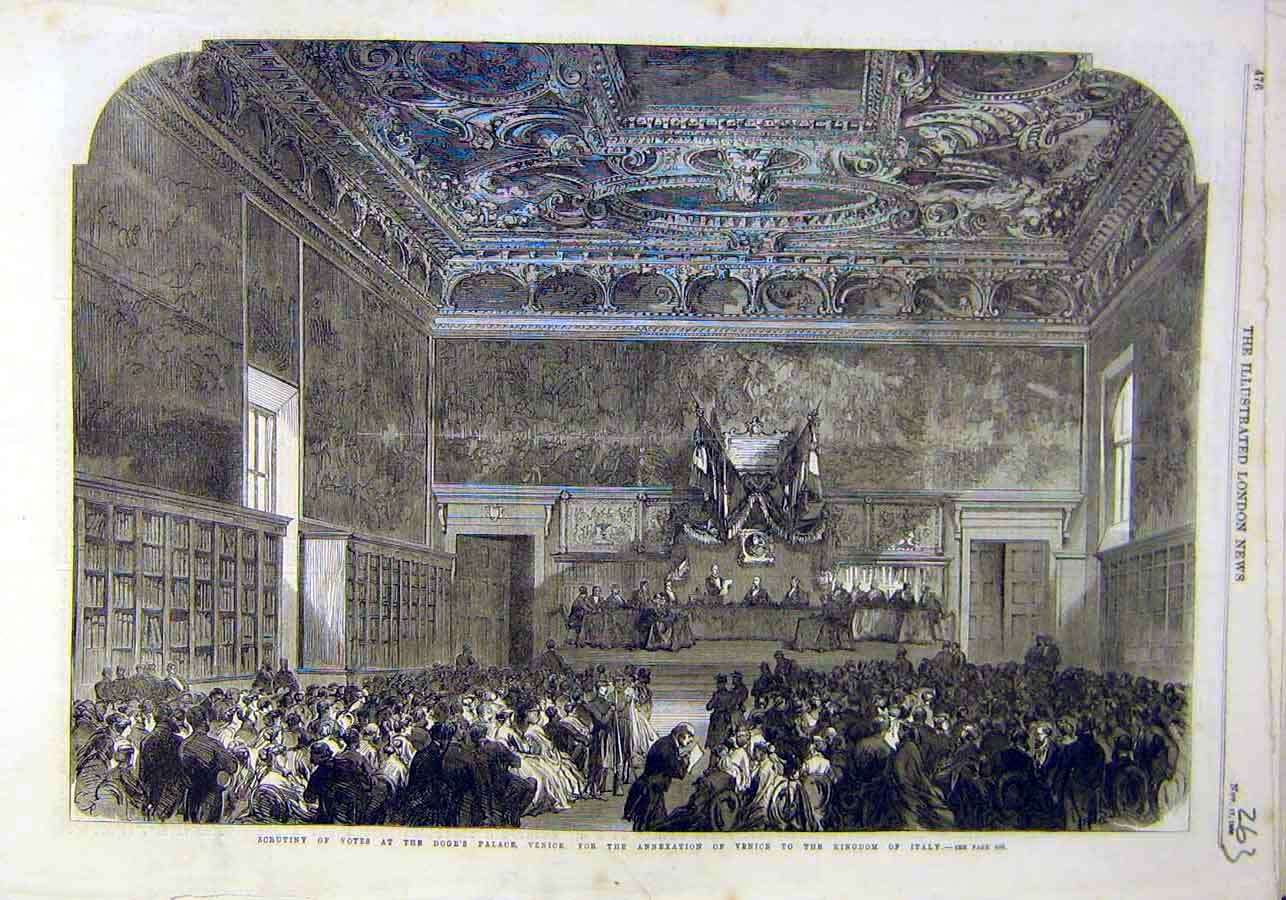 Print Doge'S Palace Venice Annexation Kindom Italy 1866 63Ccc1 Old Original