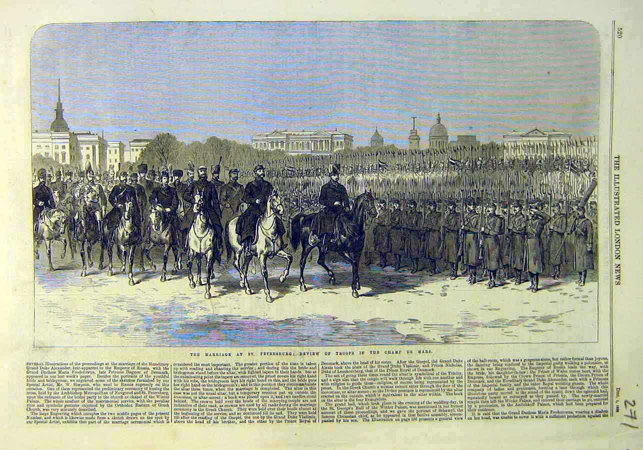 Print Review Troops Marriage St Petersburg Cham-De-Mars 1866 71Ccc1 Old Original
