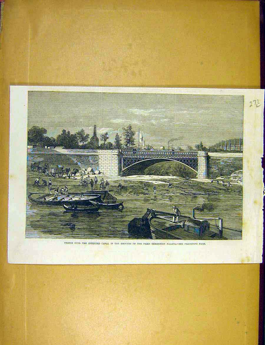 Print Bridge Canal Paris Exhibition Palace Construction 1866 72Lccc1 Old Original