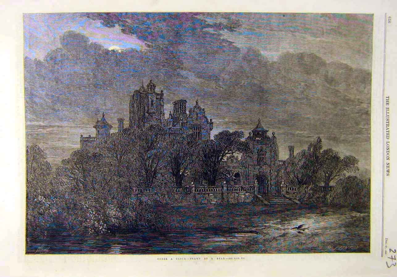Print Under-Cloud Read Building Place 1866 73Ccc1 Old Original
