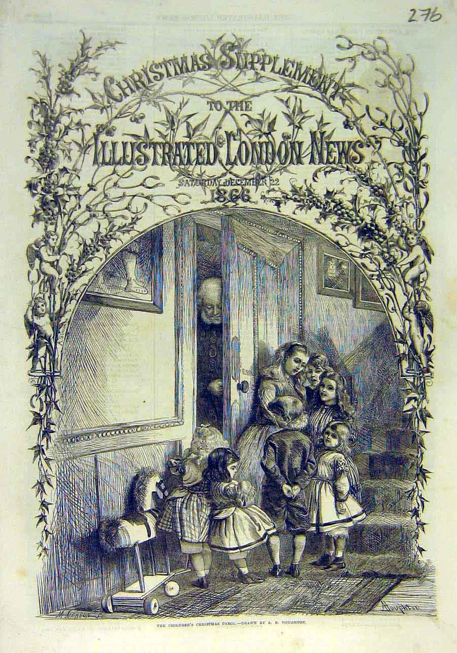 Print Children Christmas Carol Houghton Sketch 1866 76Ccc1 Old Original