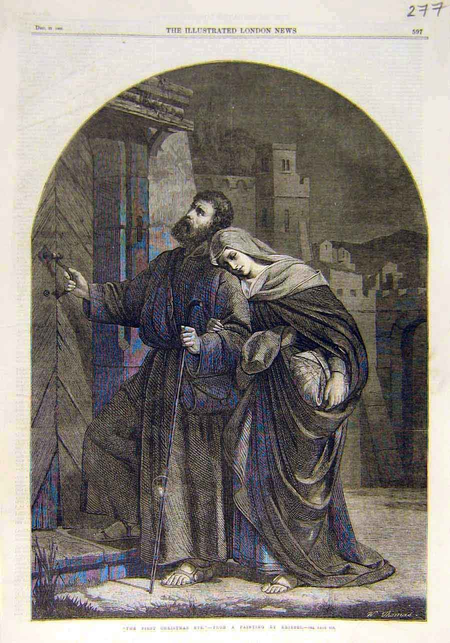 Print First-Christmas Eve Kriebel Religious 1866 77Ccc1 Old Original