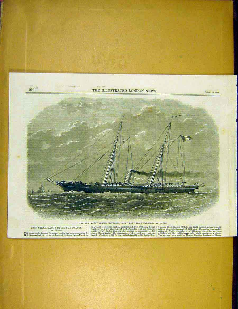 Print Steam-Yacht Jerome-Napoleon Havre Ship 1866 96Uccc1 Old Original