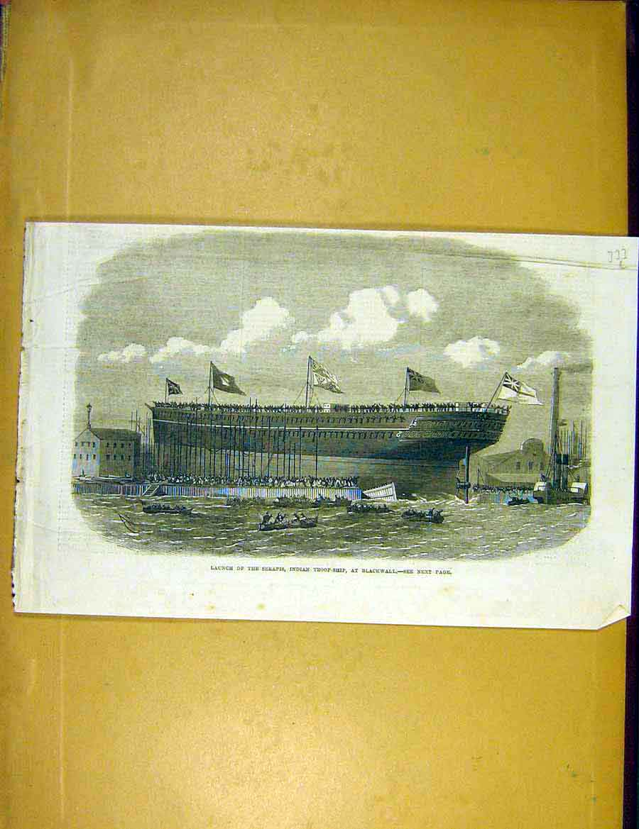 Print Serapis Launch Indian Troop-Ship Blackwall 1866 33Lccc1 Old Original