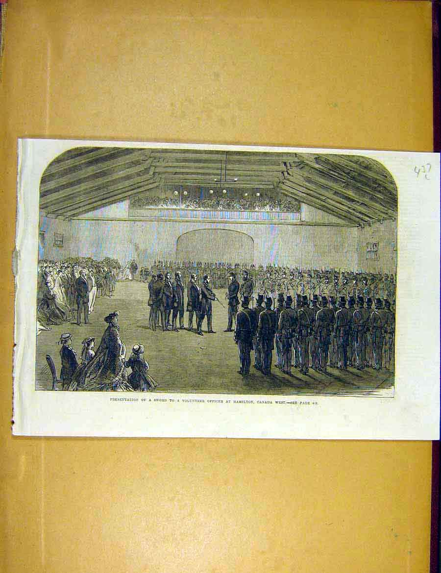 Print Sword Volunteer Officer Hamilton Canada Military 1866 37Lccc1 Old Original