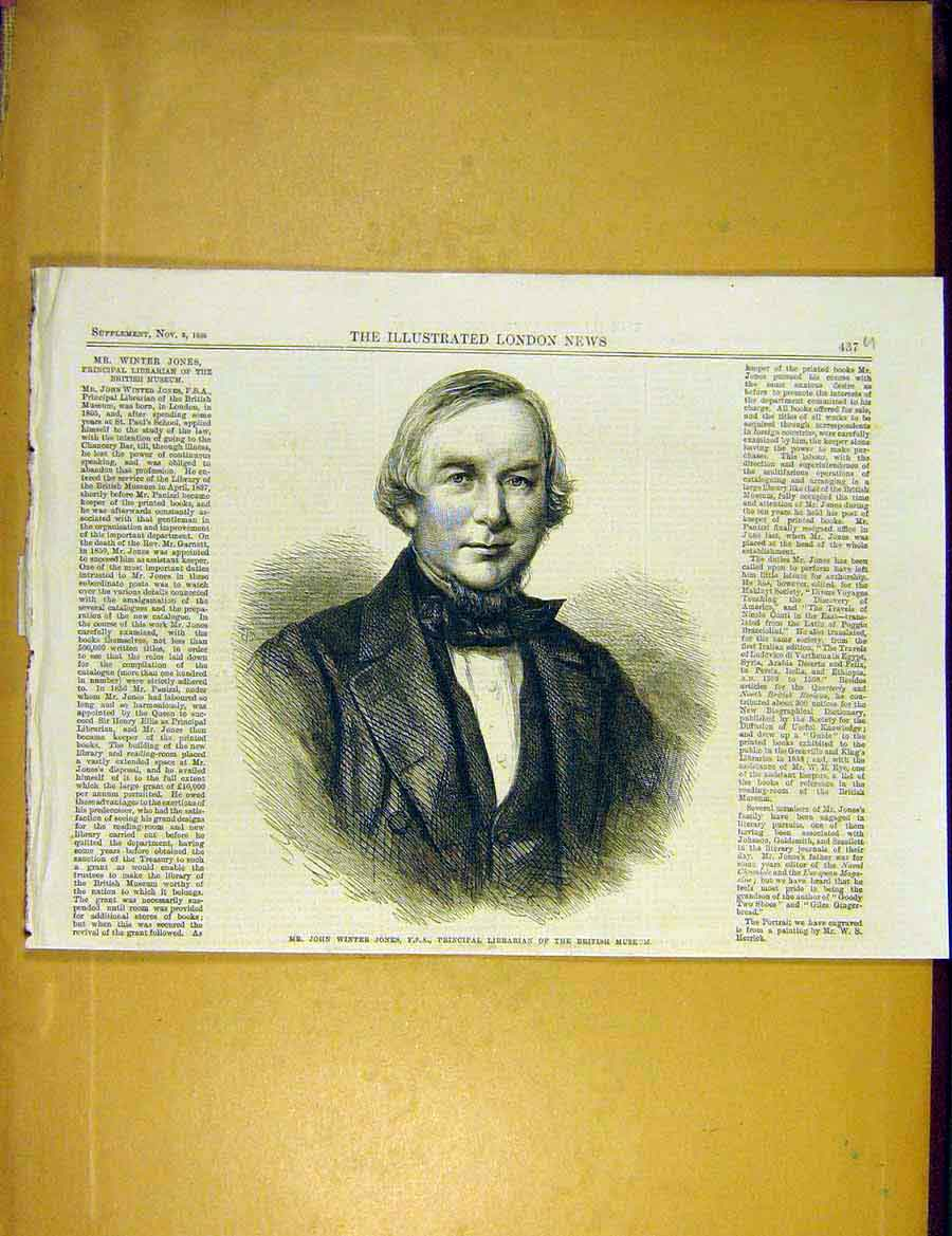 Print Jones Librarian British Museum 1866 Portrait 37Uccc1 Old Original