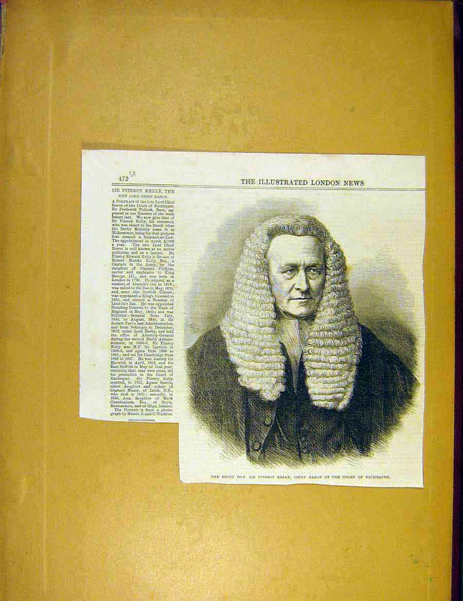 Print Portrait Kelly Chief Baron Court Exchequer 1866 72Uccc1 Old Original