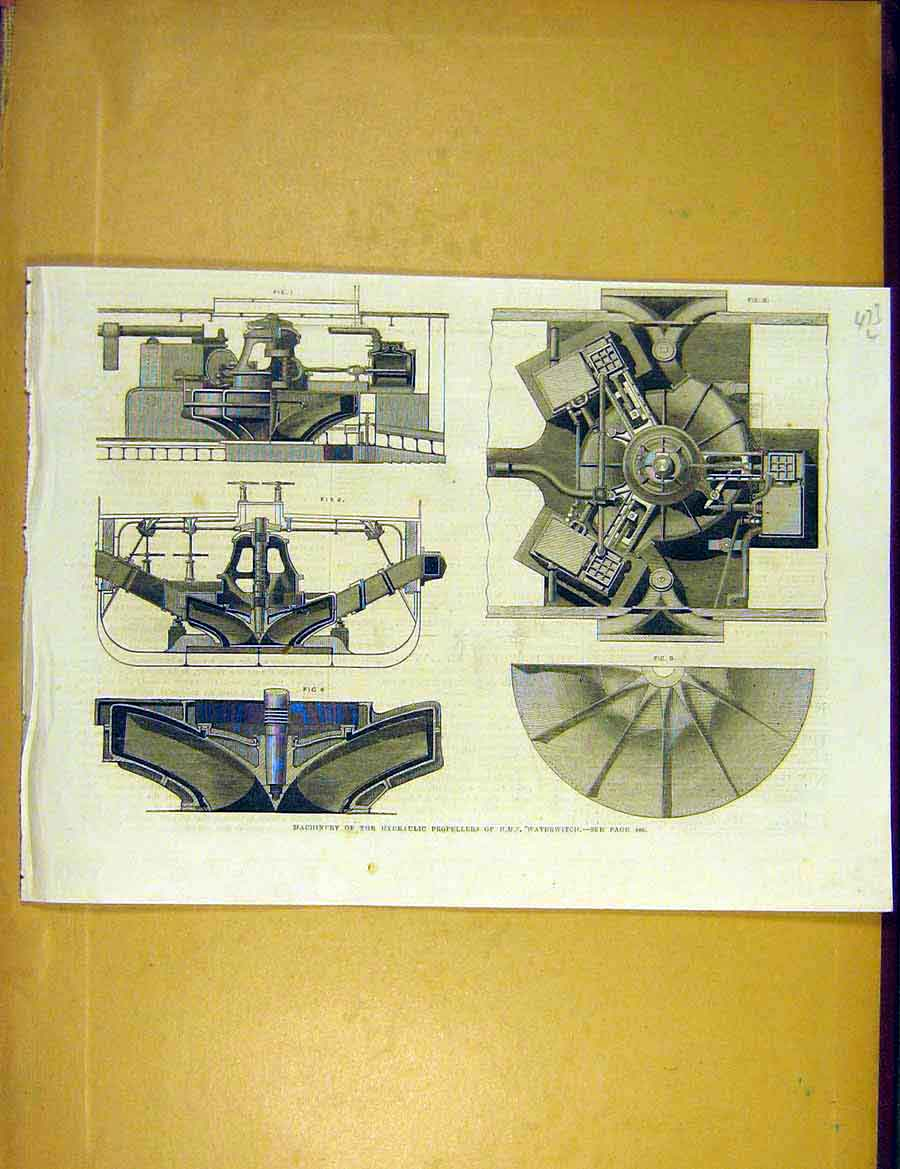 Print Machinery Hydraulic Propellors Hms Waterwitch 1866 73Lccc1 Old Original