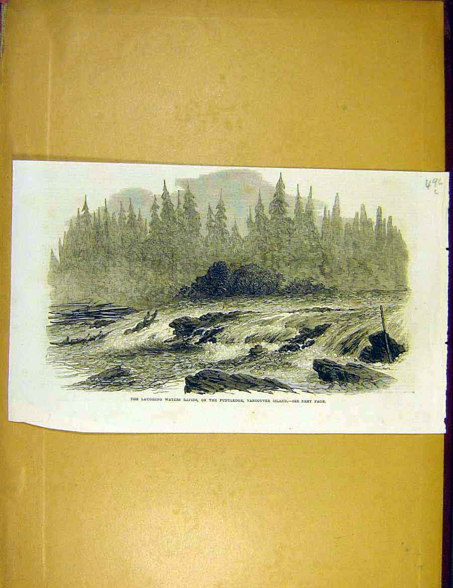 Print Laughing-Waters Rapids Puntledge Vancouver Canada 1866 96Lccc1 Old Original