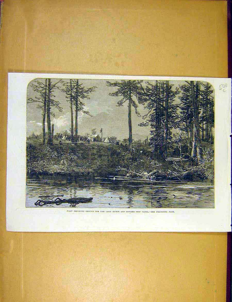 Print Lake Huron Ontario Ship-Canal Construction Canada 1866 04Lccc1 Old Original