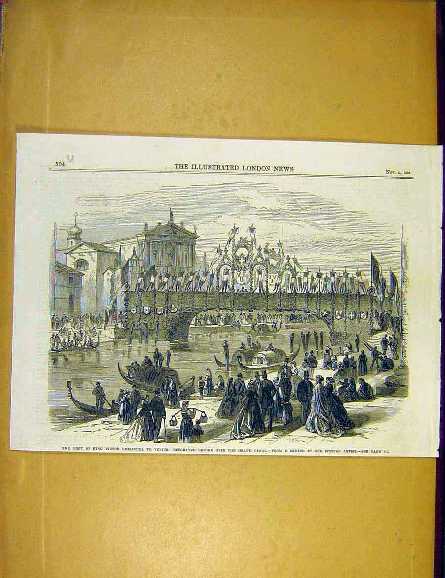 Print King Emmanuel Venice Canal Bridge People 1866 04Uccc1 Old Original