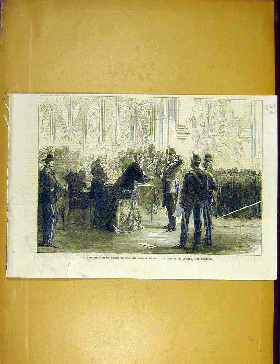 Print London Rifle Volunteers Guildhall Prizes 1866 41Lccc1 Old Original