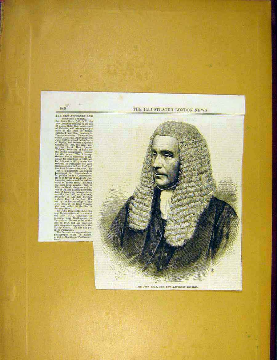 Print Portrait Rolt Attorney-General Solicitor 1866 48Uccc1 Old Original