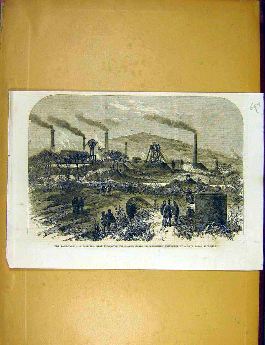 Print Colliery Newcastle-Under-Lyne Explosion Staffs 1866 49Lccc1 Old Original