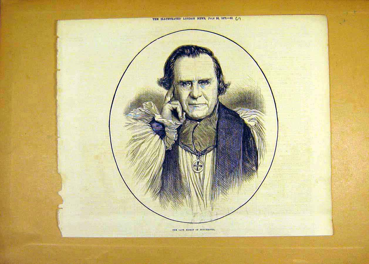 Print Portrait Bishop Winchester 1873 81Uccc1 Old Original