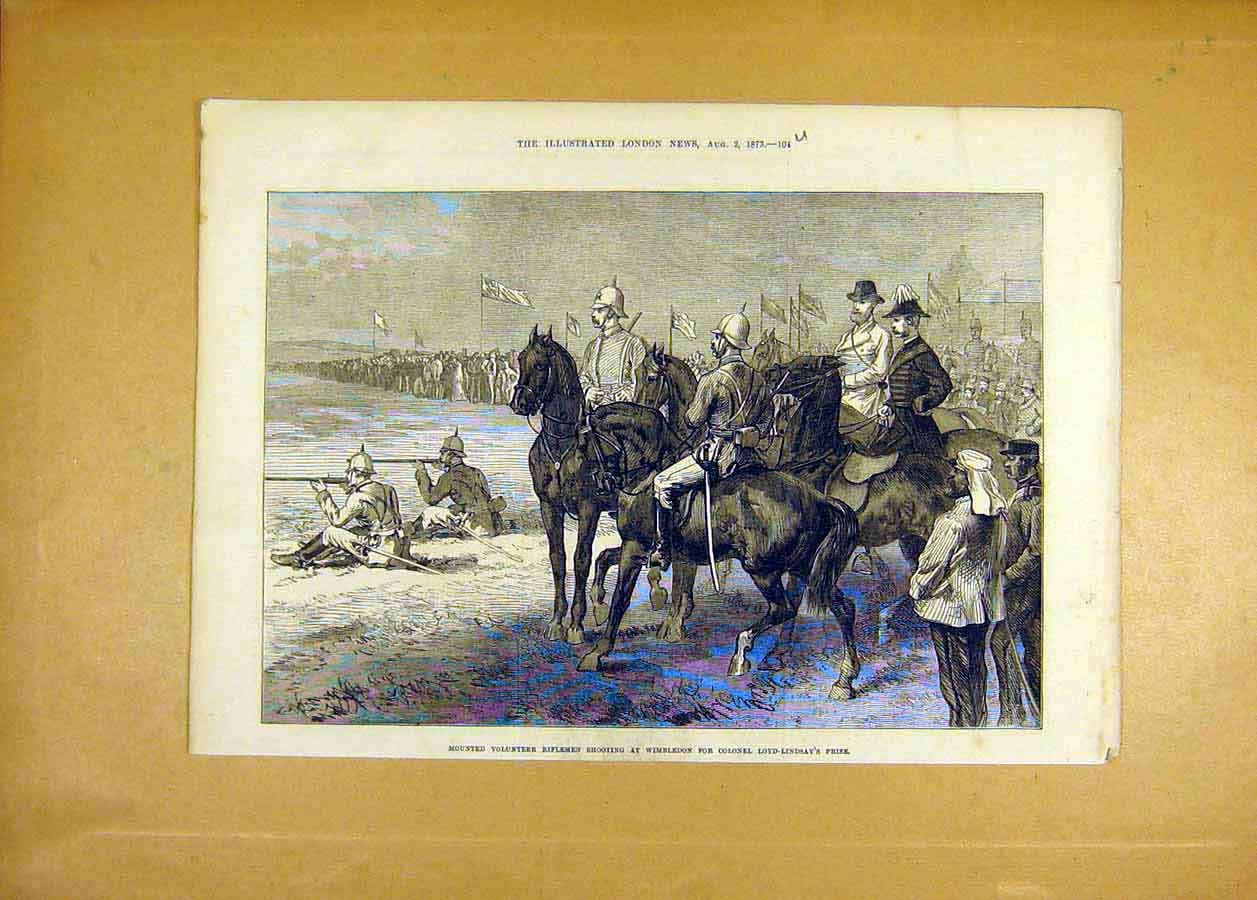 Print Volunteer Riflemen Shooting Wimbledon Loyd-Lindsay 1873 04Uccc1 Old Original