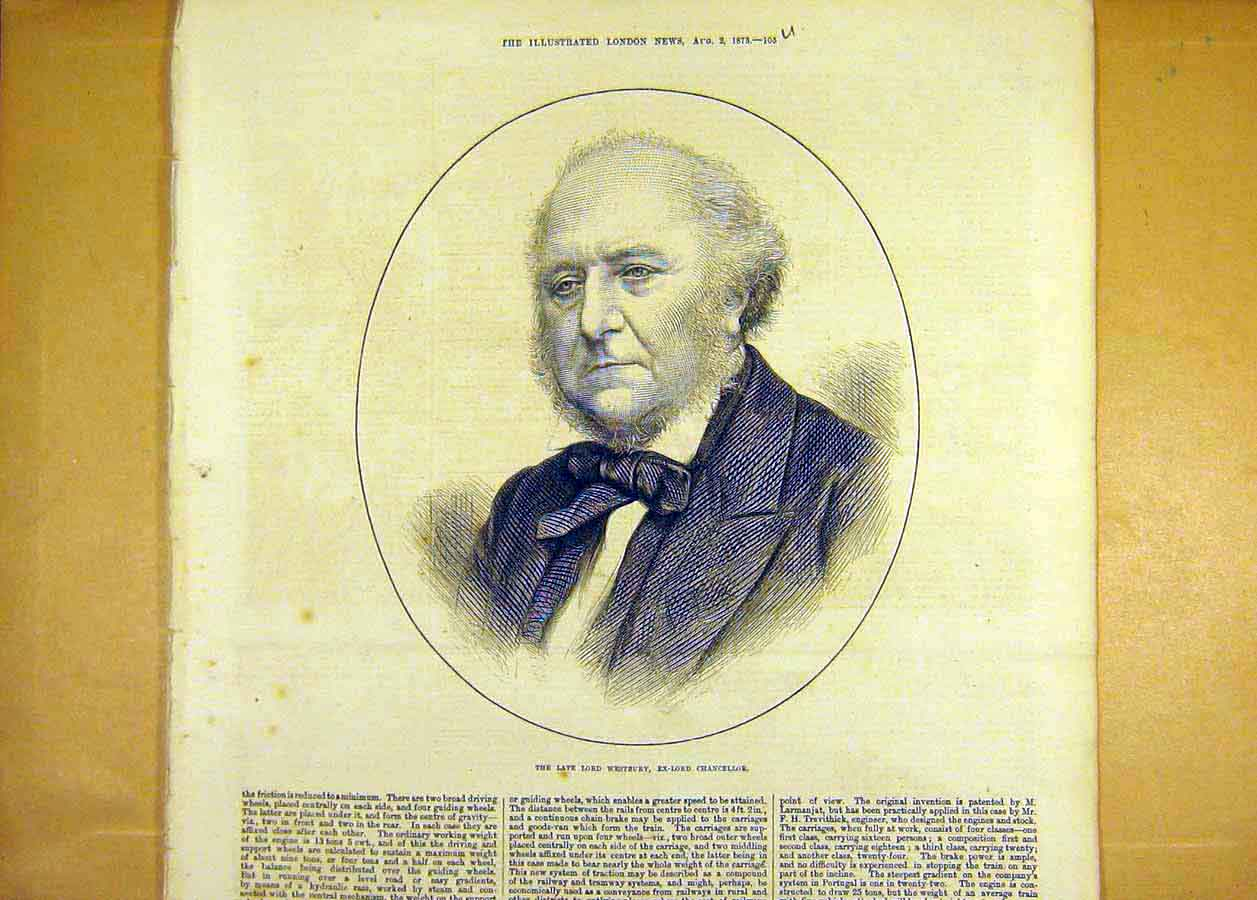 Print Lord Westbury Chancellor 1873 Portrait 05Uccc1 Old Original