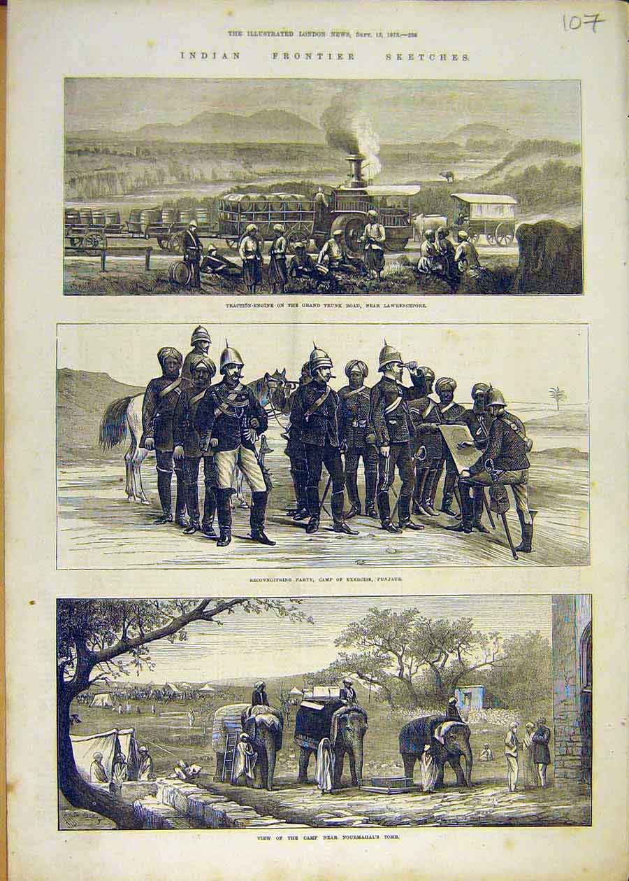 Print Indian Frontier Sketches Traction Engine Punjaur 1873 07Ccc1 Old Original