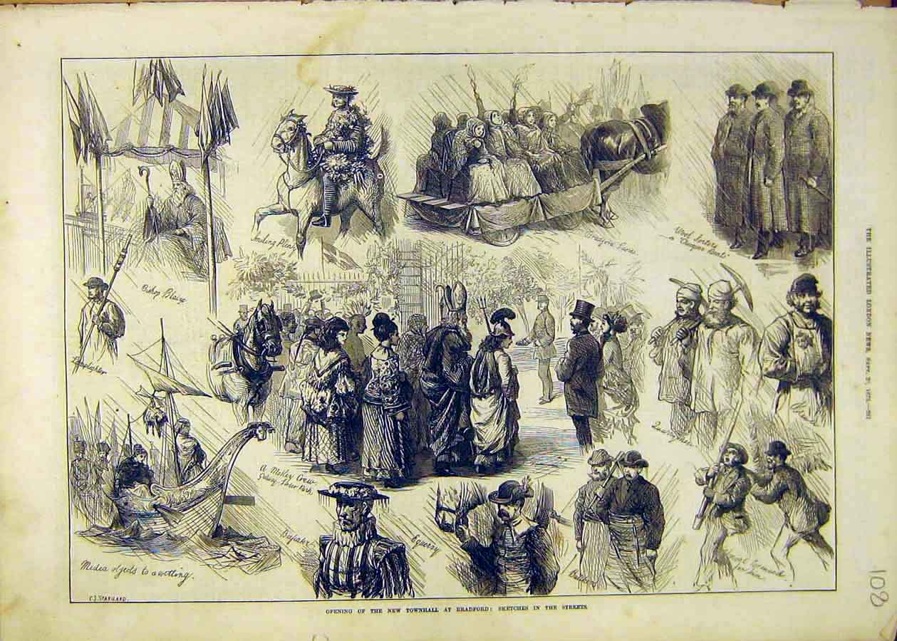 Print Townhall Bradford Sketches Street Staniland 1873 08Ccc1 Old Original