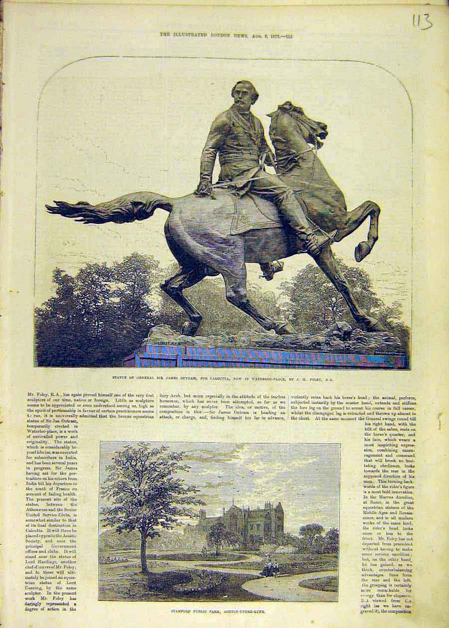 Print Statue Outram Waterloo-Place Stamford Park Ashton 1873 13Ccc1 Old Original