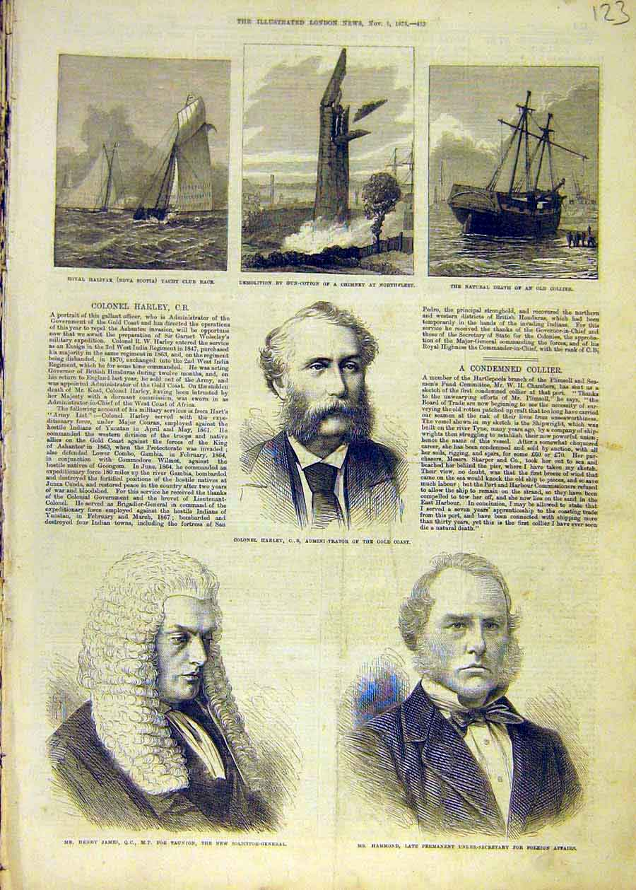 Print Halifax Yacht Gun-Cotton Collier-Ship Harley James 1873 23Ccc1 Old Original