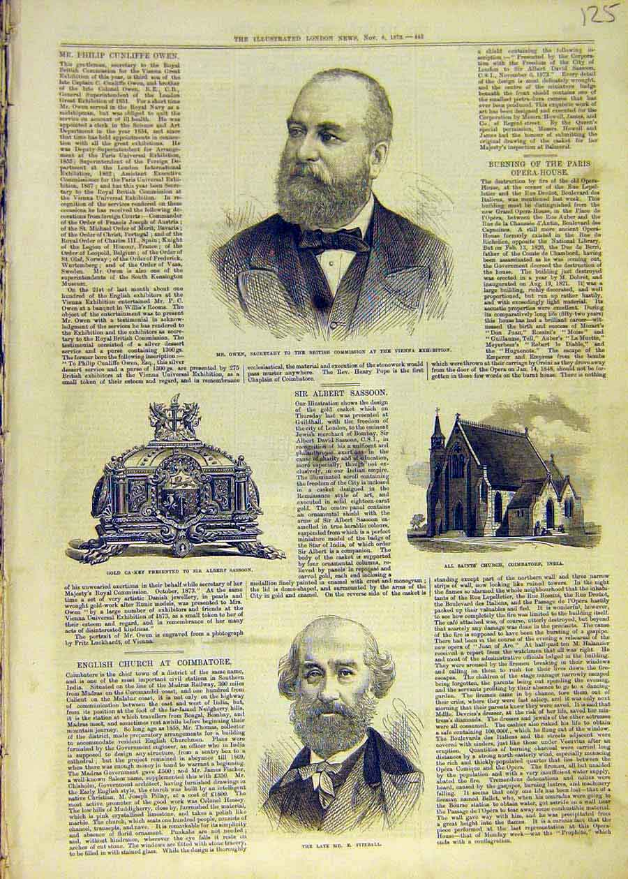 Print Owen Secretary Gold-Csaket Sassoon Fitzball India 1873 25Ccc1 Old Original
