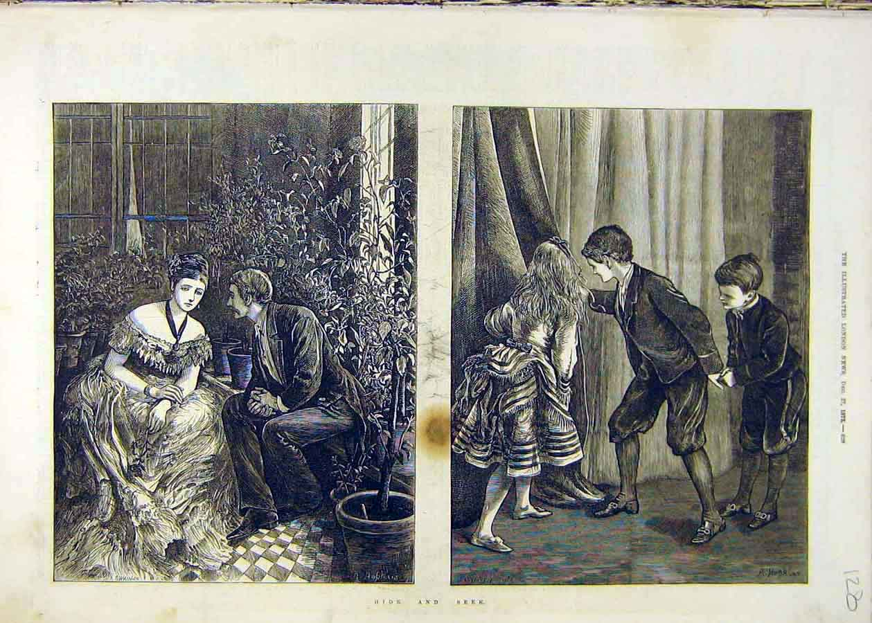 Print Hide-Seek Sketches Romance Chinldren Man Lady 1873 28Ccc1 Old Original