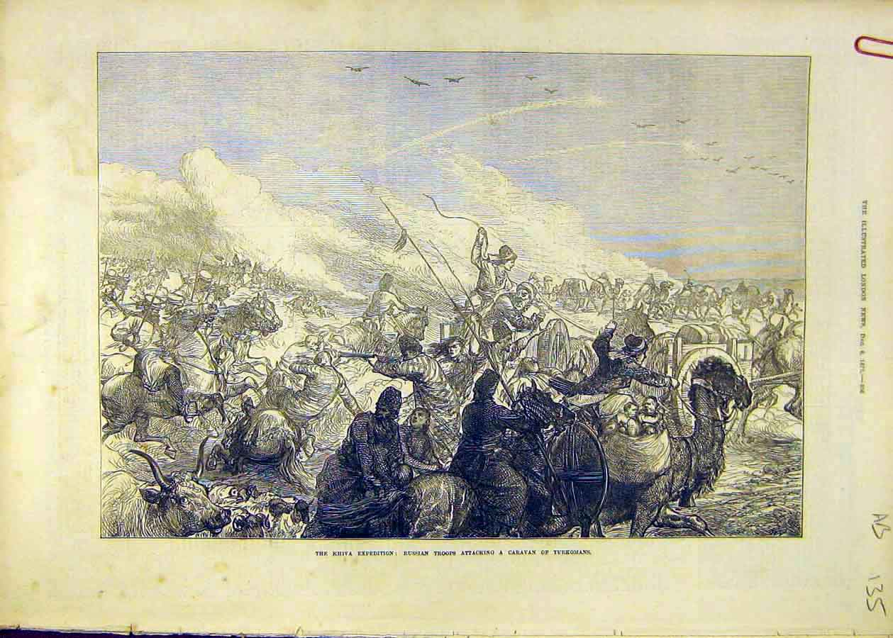 Print Khiva Expedition Russian Troops Water Desert 1873 35Accc1 Old Original