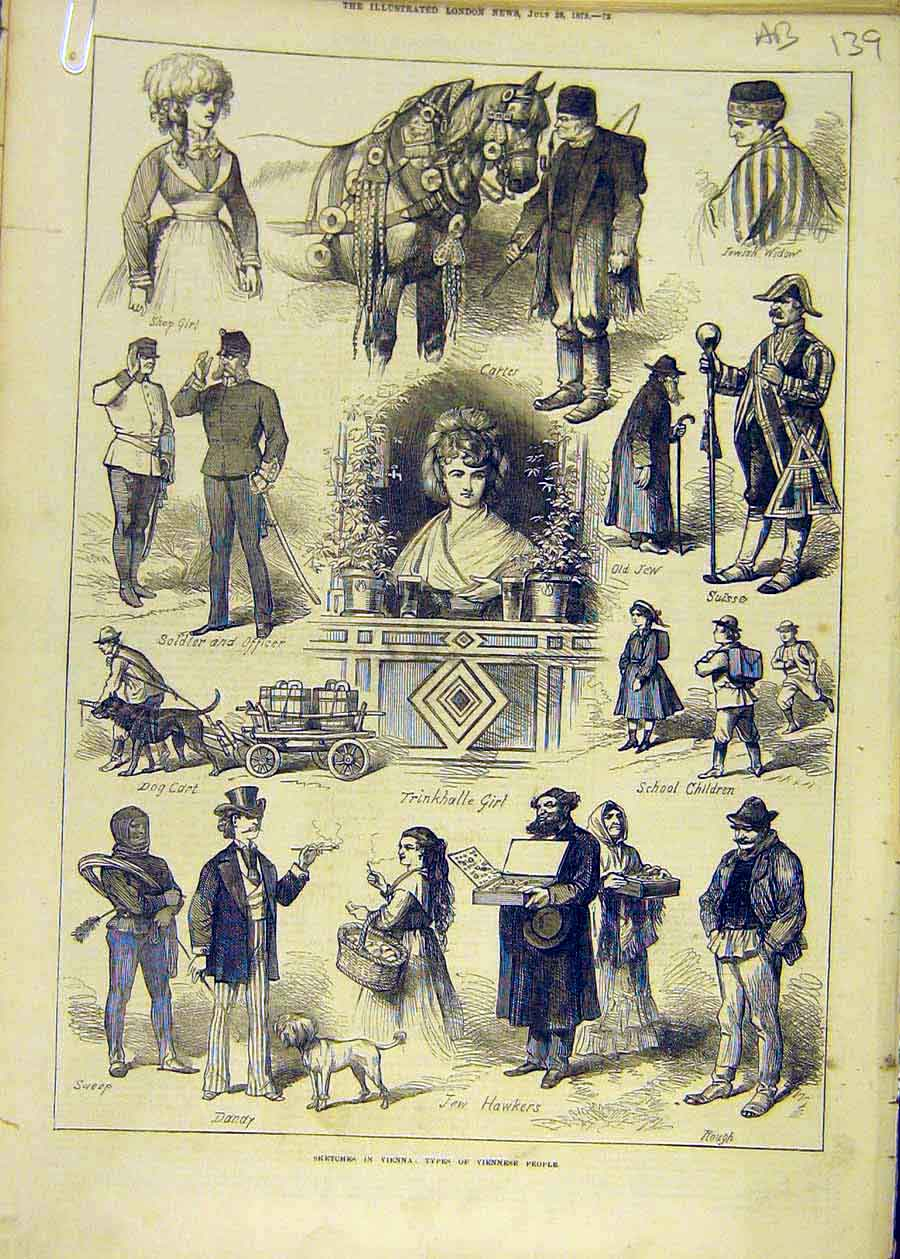 Print Bienna Sketches People Exhibition Alpine 1873 39Accc1 Old Original