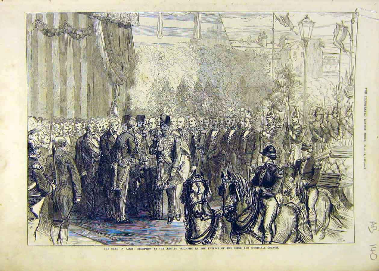 Print Shah Paris Reception Municipal Seine Council 1873 40Accc1 Old Original