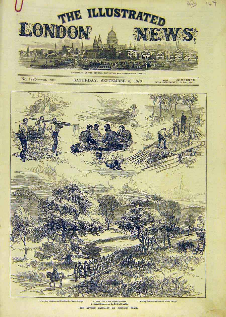 Print Cannock Chase Autumn Campaign Military Armagh 1873 47Accc1 Old Original