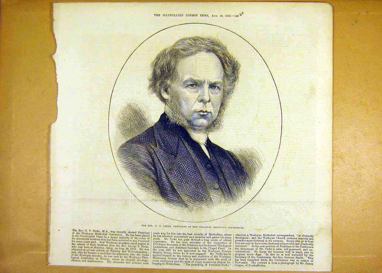 Print Reverend Perks President Weslyan Methodist 1873 49Uccc1 Old Original