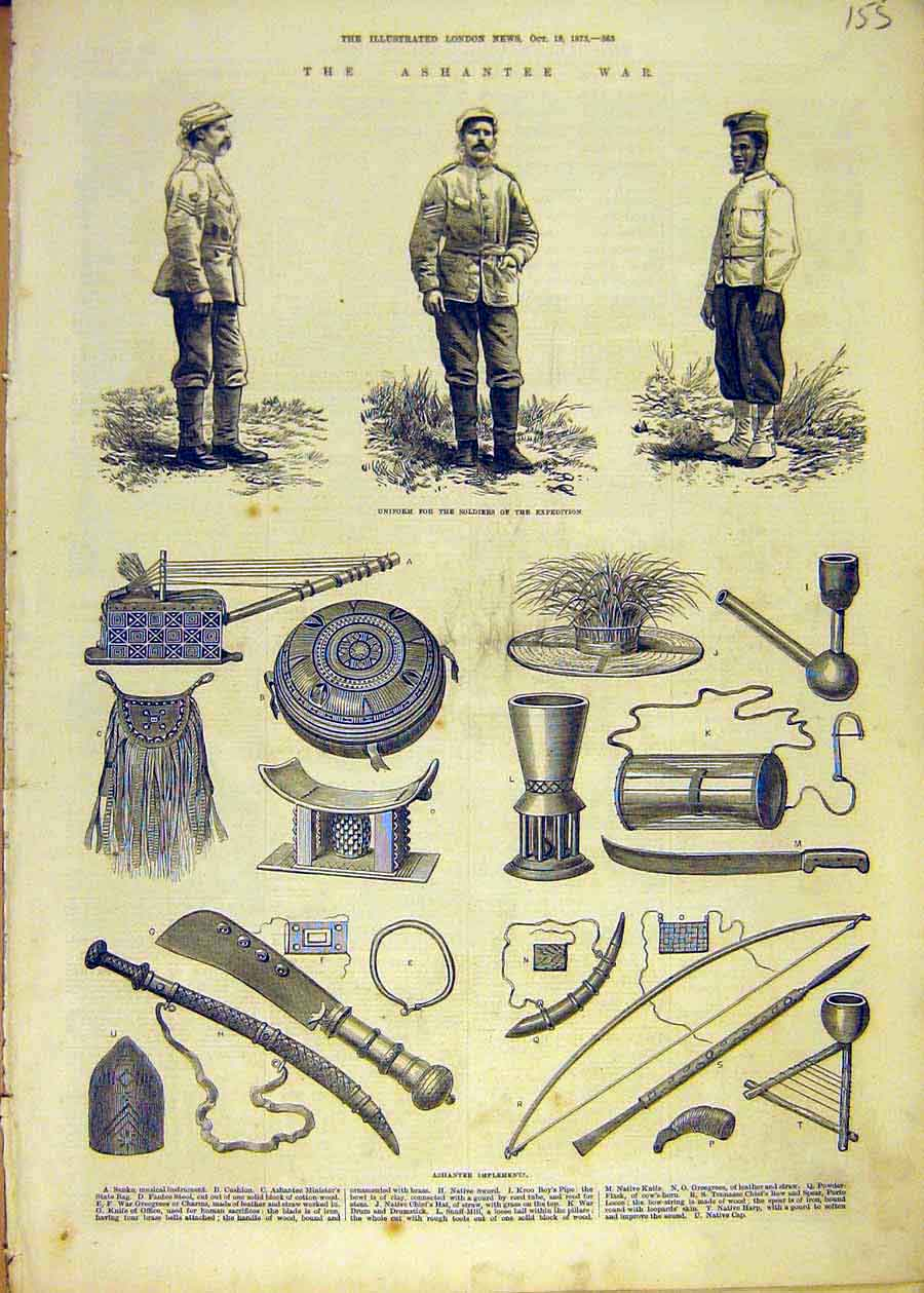 Print Ashantee War Uniform Soldiers Expedition Weapons 1873 55Ccc1 Old Original