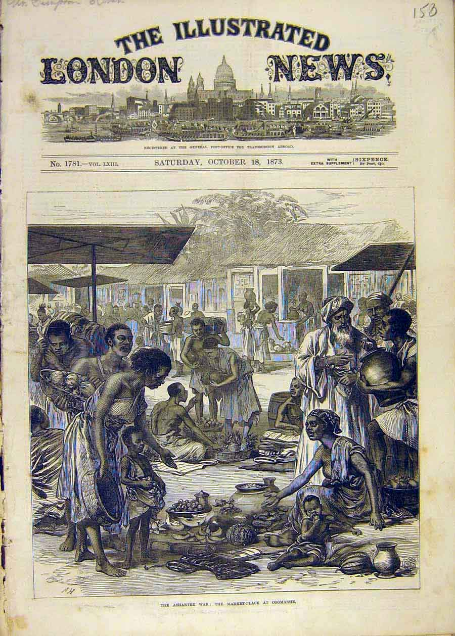 Print Ashantee War Market-Place Africa Coomassie 1873 58Ccc1 Old Original