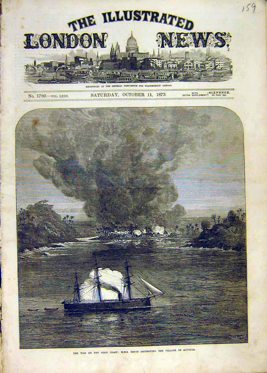 Print Warw Gold-Coast Africa Hms Druid Aguidah Village 1873 59Ccc1 Old Original