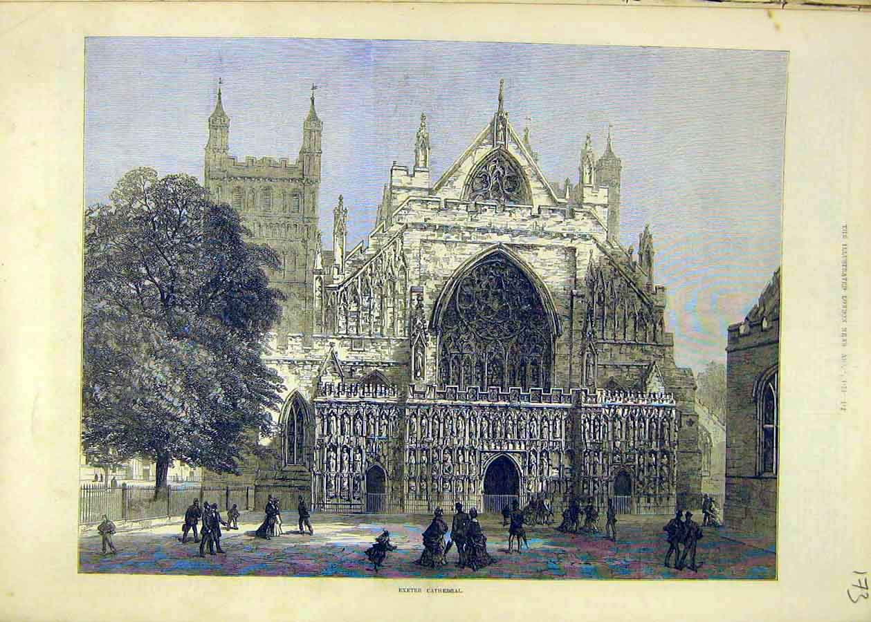 Print Exeter Cathedral Building Place 1873 73Ccc1 Old Original