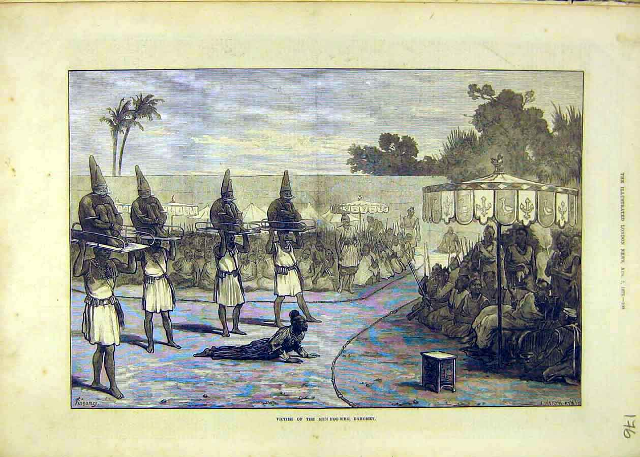 Print Victims Mem-Hoo-Who Dahomey Africa People Places 1873 76Ccc1 Old Original