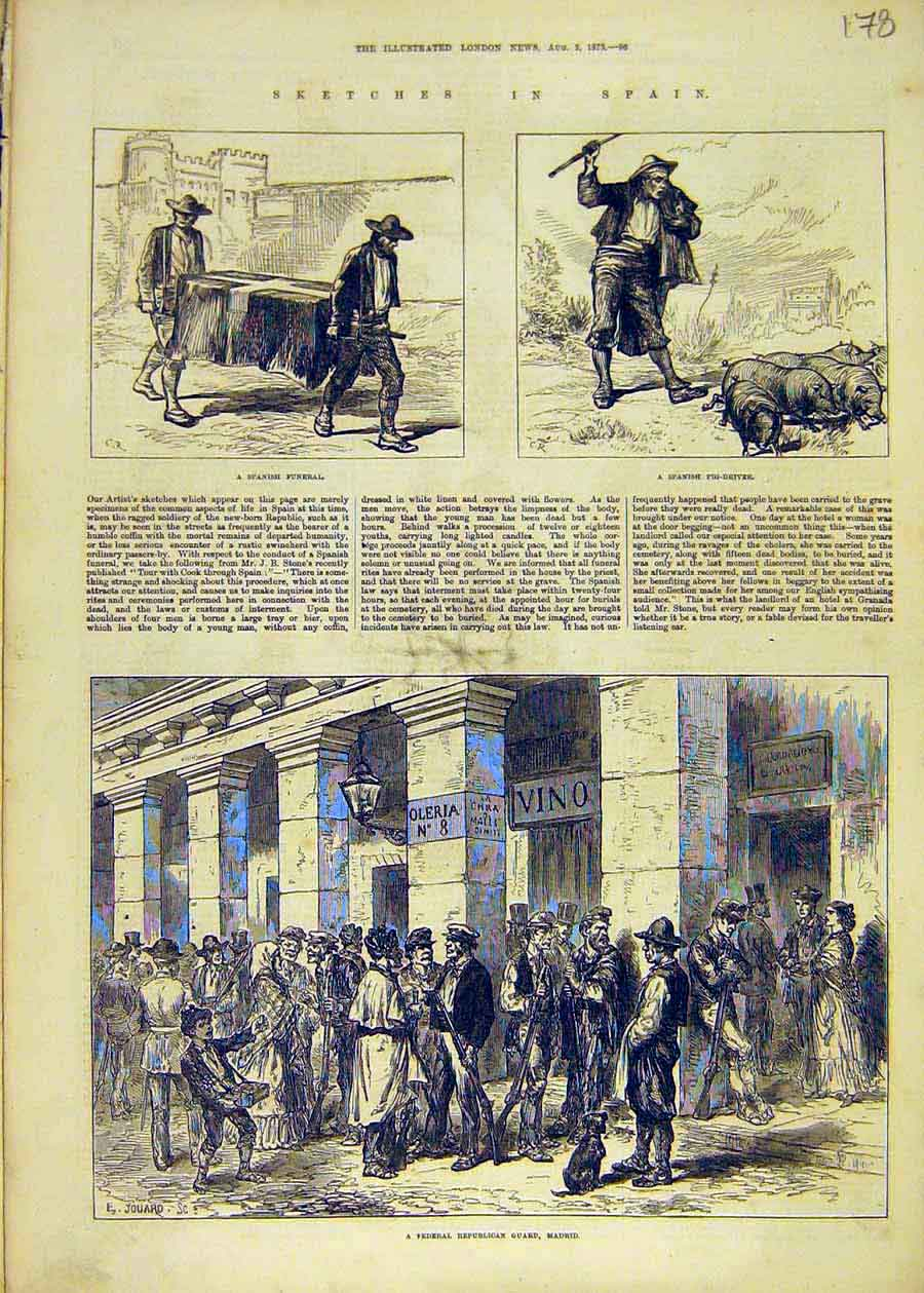 Print Spain Funeral Pig-Driver Madrid Federal Guard 1873 78Ccc1 Old Original