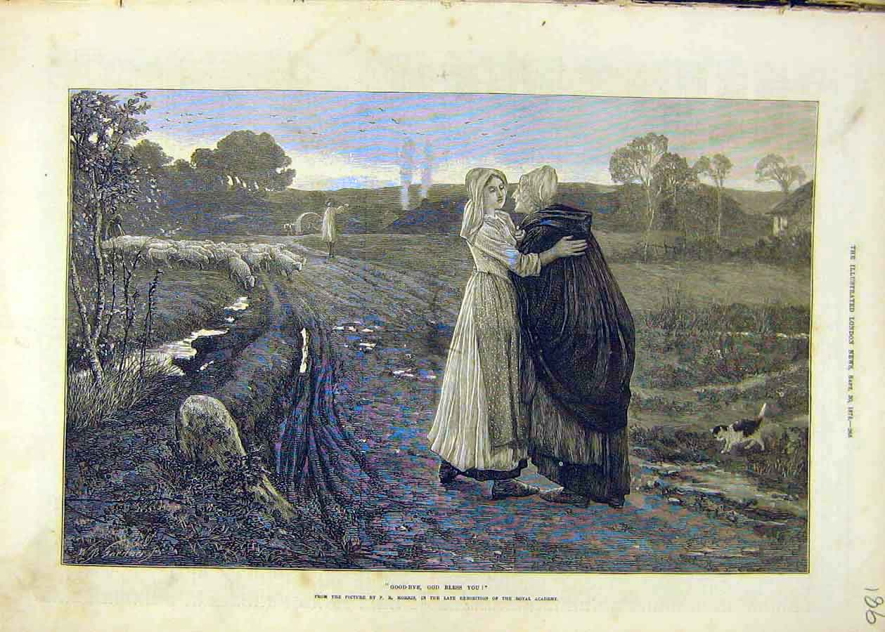 Print Good-Bye Bless-You Morris Fine Art 1873 Sheep 86Ccc1 Old Original