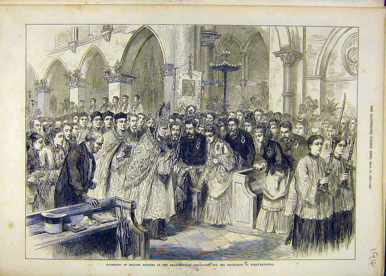 Print Pilgrims Cathedral Kensington Paray-Le-Monial 1873 94Ccc1 Old Original