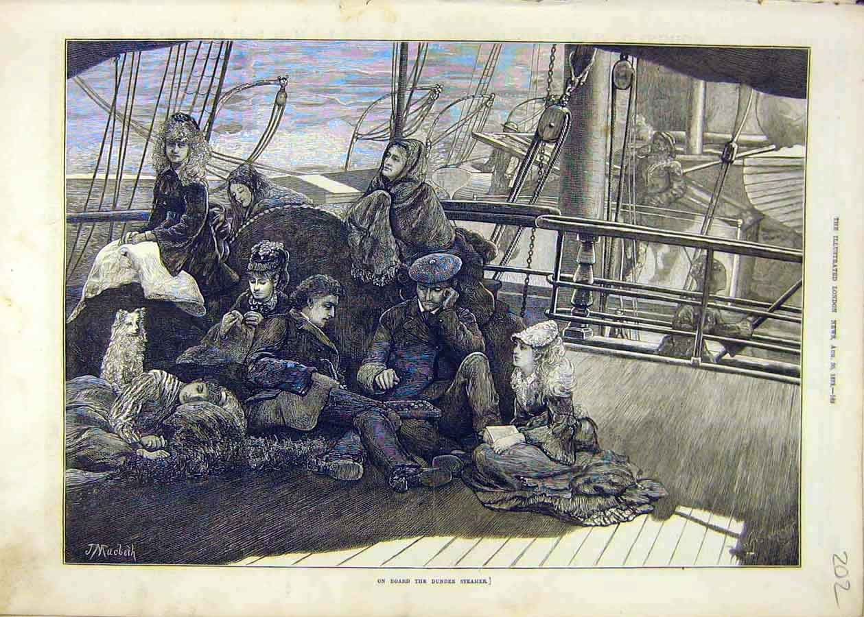 Print Dundee Steamer Ship Boat Passengers People 1873 02Ccc1 Old Original