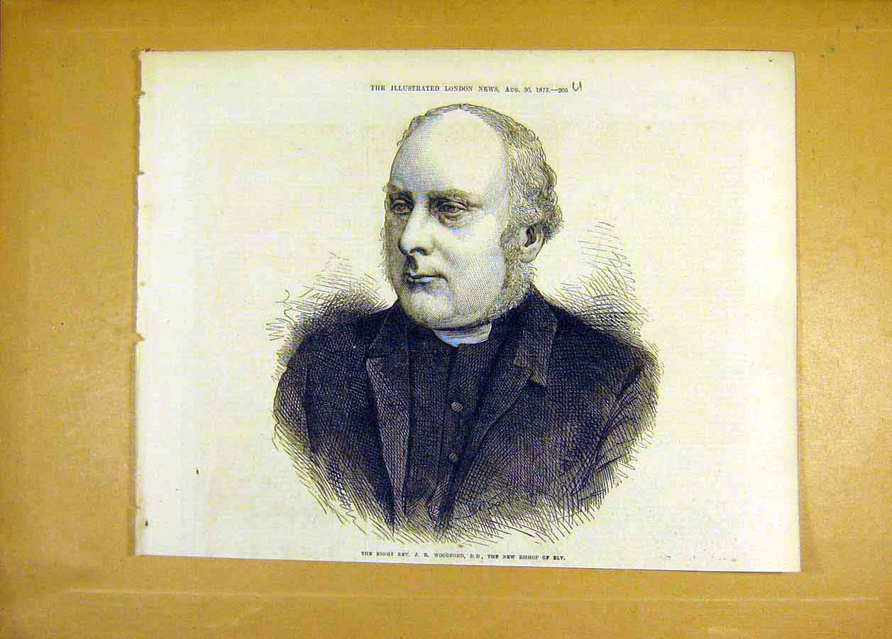 Print Reverend Woodford Bishop Ely 1873 Religious 05Uccc1 Old Original