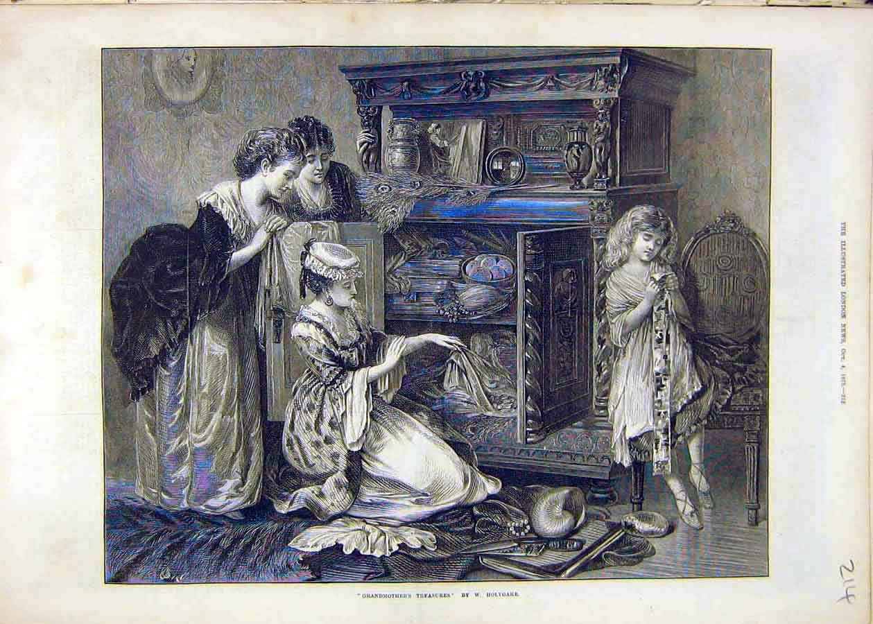 Print Grandmother'S Treasures Holyoake Family 1873 14Ccc1 Old Original
