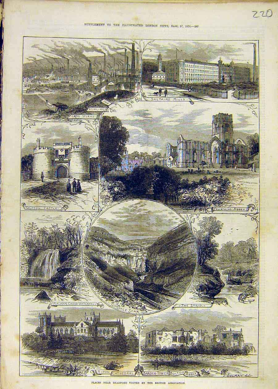 Print Places Bradford Cathedral Ripon Saltaire Skipton 1873 20Ccc1 Old Original