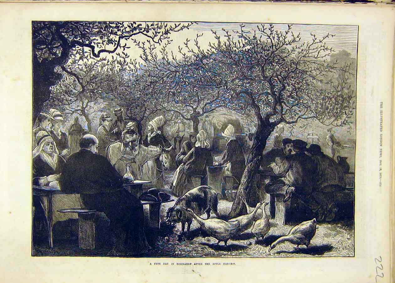 Print Fete Day Normandy Apple-Harvest People Places 1873 22Ccc1 Old Original