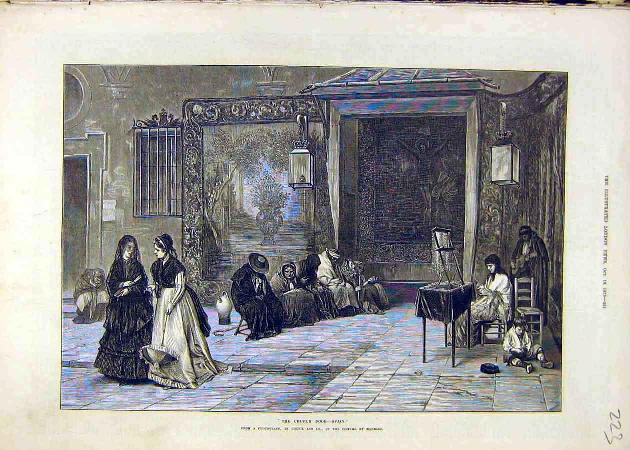 Print Church Door Spain Religious 1873 People Place 23Ccc1 Old Original