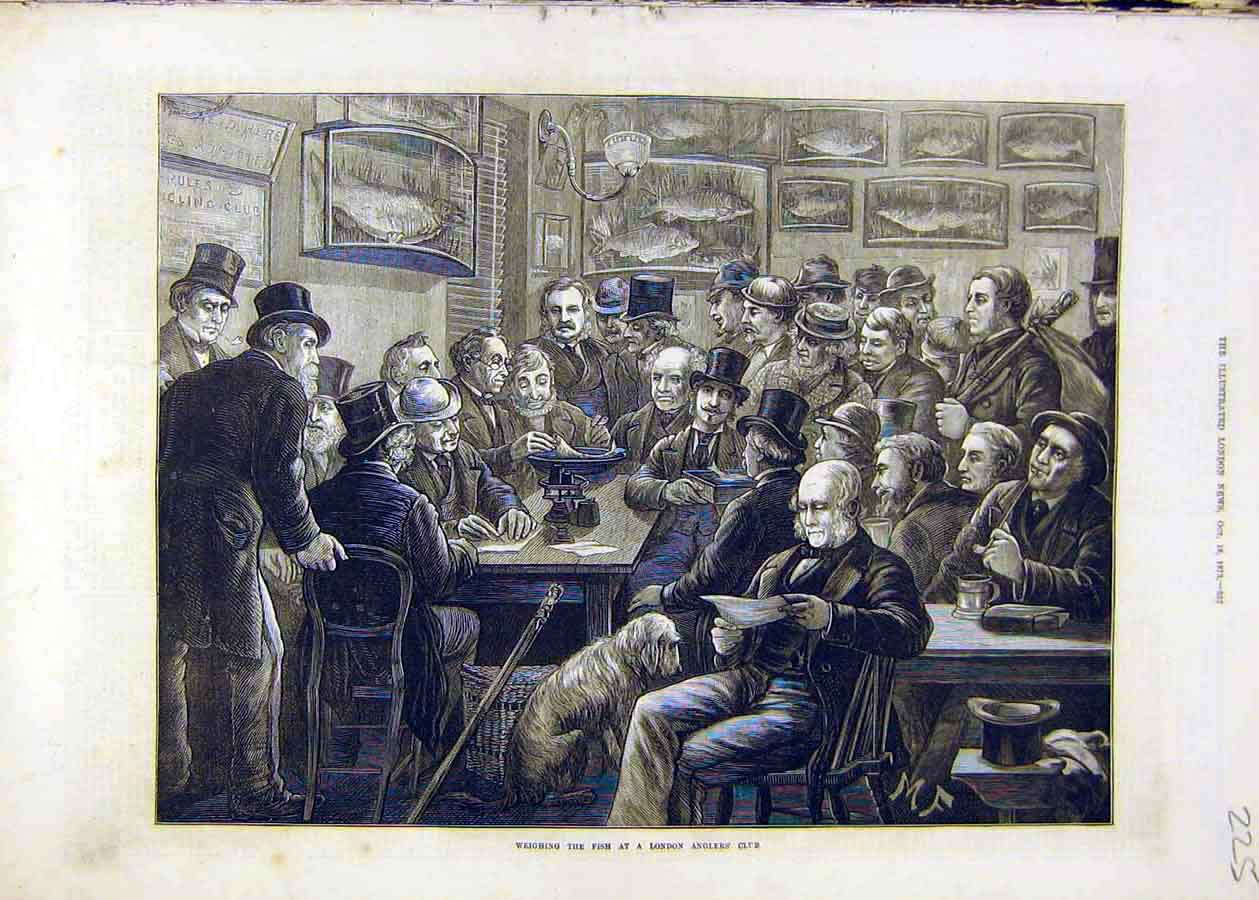 Print Weighin Fish London Anglers Club Fishing Fishermen 1873 25Ccc1 Old Original