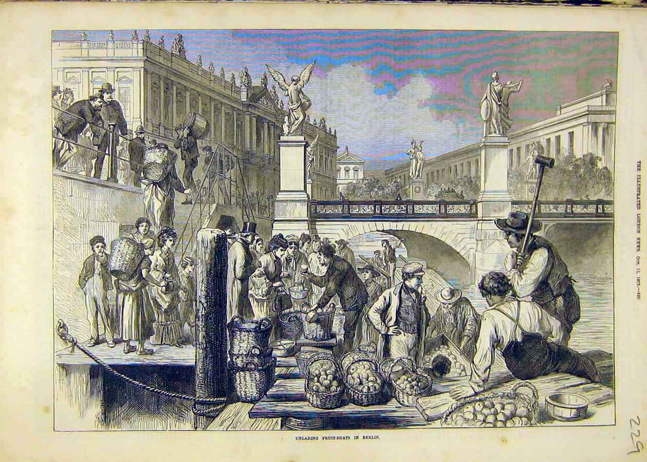 Print Fruit-Boats Unloading Berlin Market People Places 1873 29Ccc1 Old Original